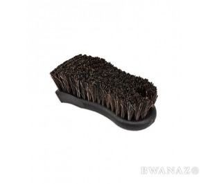 Horse Hair Brush 2.5″ x 6″ with 1.25″ Dark Brown Bristles Black  | CarWashCloth