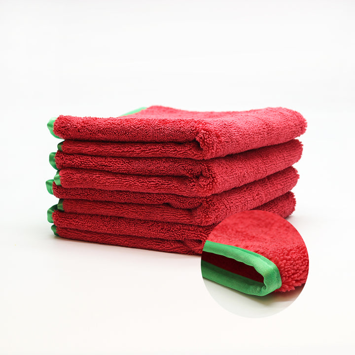 Microfiber Elite Towel 16″x24″ Red/Green Trim 380GSM Pack 3 | CarWashCloth