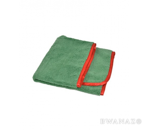 CarWashCloth 16″x24″ Microfiber Elite Towel 380 GSM Green/Red Trim