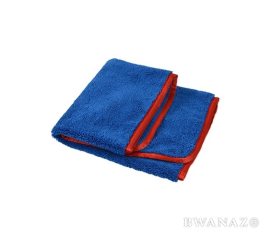 "Microfiber Elite Towel 16"" x24"" 380GSM Blue/Red Trim 