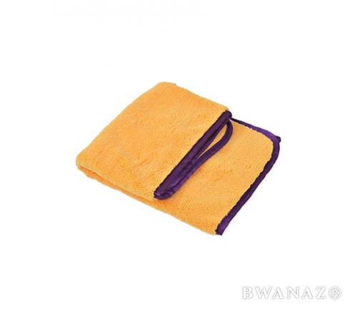 CarWashCloth 16″x24″ Microfiber Elite Towel 380 GSM Gold/purple Trim