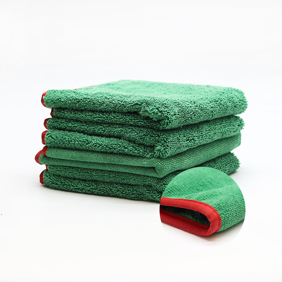 Microfiber Elite Towel 16″x24″ 380GSM Green/Red Trim 3 Pack | CarWashCloth