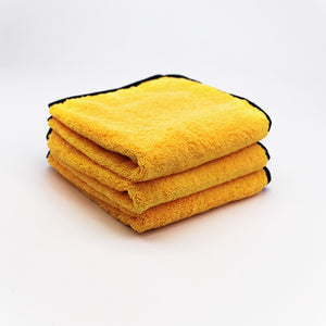 "Microfiber Elite Towel 16"" x 24"" 380GSM Gold/Black Trim Pack 3 