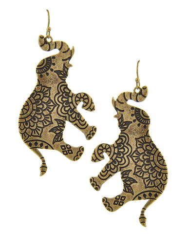 Mumbai Elephant - Earrings Antique Gold - Global Goddess Homewares