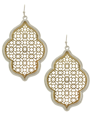 Moroccan Day Dream (Gold with Silver Trim) -Earrings - Global Goddess Homewares