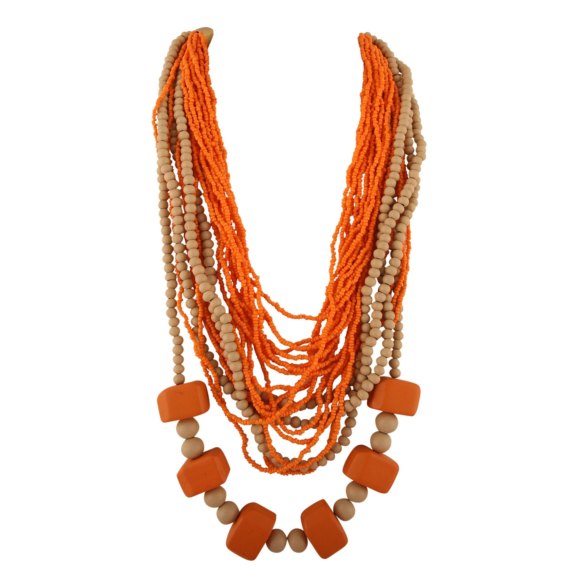 Beads of Kenya - Multi Strand Wood Necklace - Global Goddess Homewares
