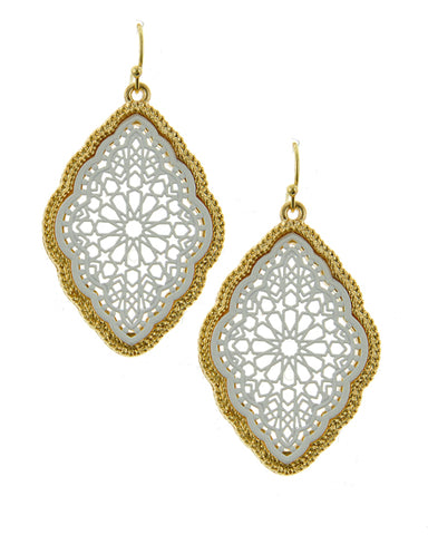 Marrakesh Sunset  (Matt White & Gold Trim) -Earrings - Global Goddess Homewares