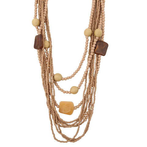 Beads of Trunyan   - Multi Strand Wood Necklace - Global Goddess Homewares