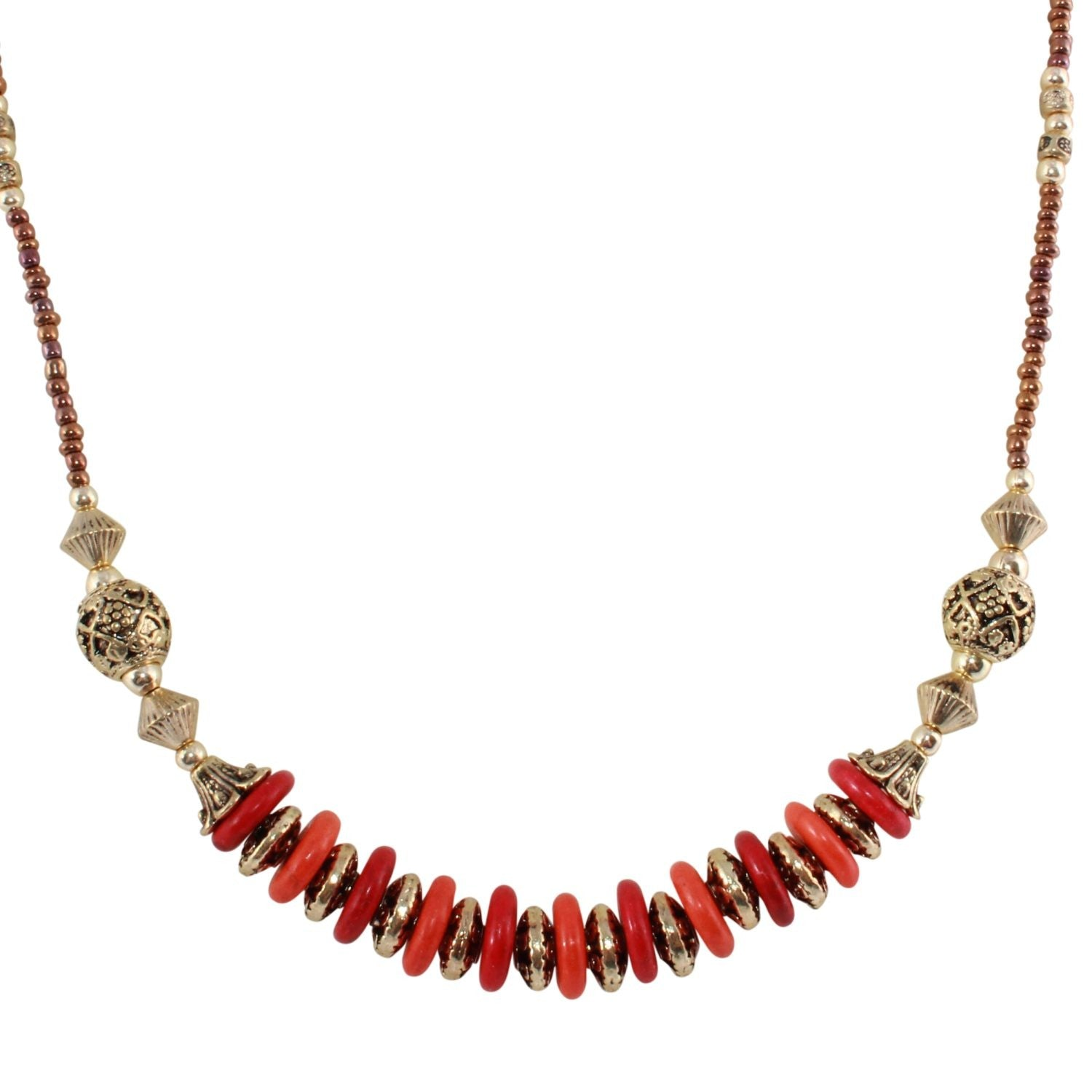 Kashmir Princess - Red & Orange Necklace - Global Goddess Homewares