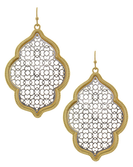 Moroccan Day Dream (Silver with Gold Trim) -Earrings - Global Goddess Homewares