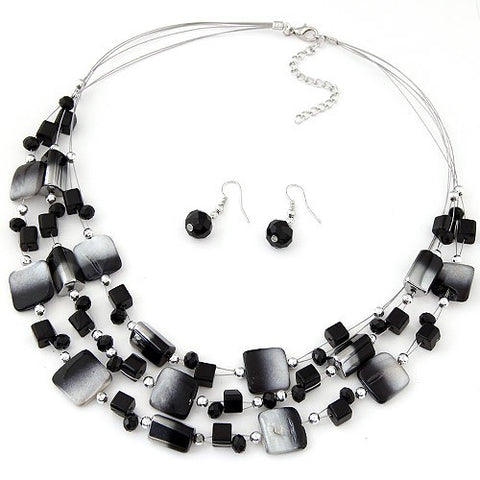 Sukawati Jewel - Black Necklace & Earring Set - Global Goddess Homewares