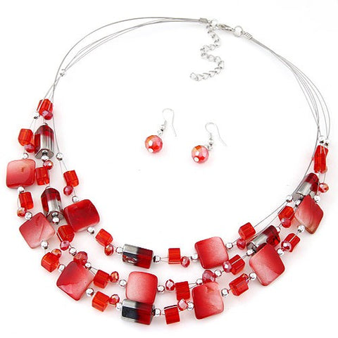 Sukawati Jewel - Red Necklace & Earring Set - Global Goddess Homewares