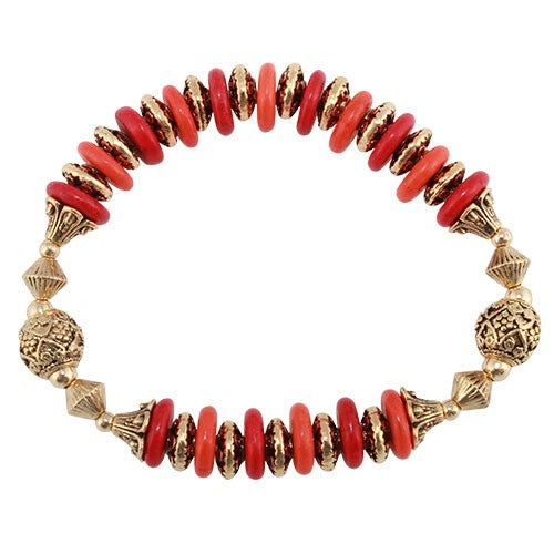 Kashmir Princess - Red & Orange Bracelet - Global Goddess Homewares