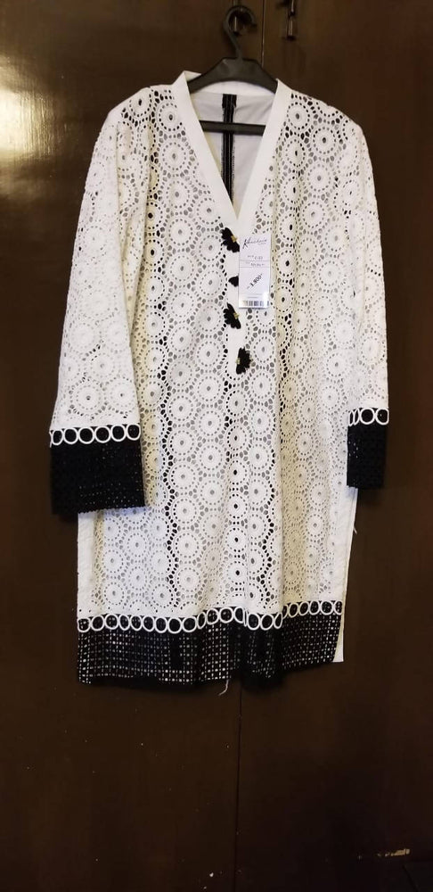 Black and white cut work kurta