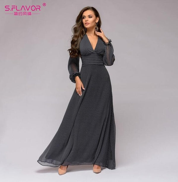 S.FLAVOR Bohemian Retro Dot Printed Women Dress Spring Autumn Deep V-neck Sexy Long Sleeve Chiffon Long Dress Vestidos De