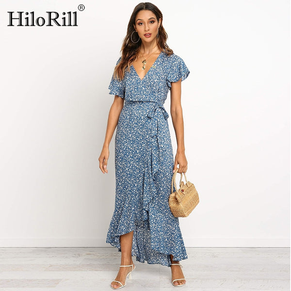 Summer Long Maxi Dress Women Casual Boho Floral Print Chiffon Beach Dress Sexy V-Neck Ruffles Bodycon Wrap High Slit Party Dress