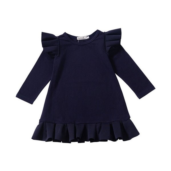 2019 New Winter Dresses for Toddler Girls Navy Blue Long Puff Sleeve Pleated Dress Kids Casual Dress