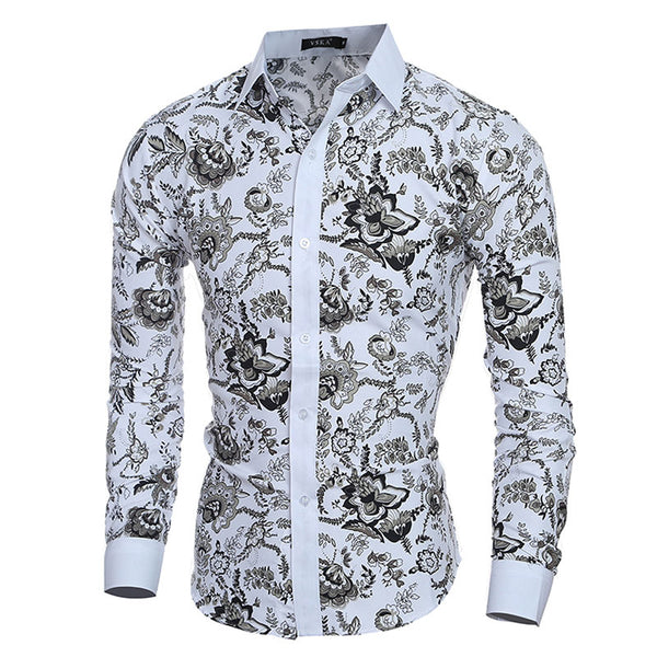 Elegant Noble Floral Prints Men Shirt Fashion Mens Shirts Long sleeve Slim Fit Casual Social Camisas Masculinas Chemise homme