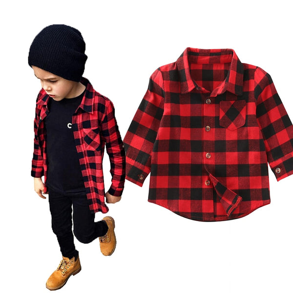 2017 Kid Long Sleeve Plaids Shirts Child Kids Boys Girl Unisex Shirt Plaid Check Tops Blouse Casual Clothes