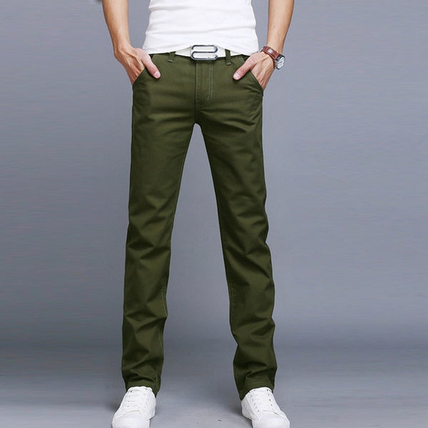 Fashion Men Business Casual Pants Cotton Slim Straight Trousers Spring Summer Long Pants -MX8