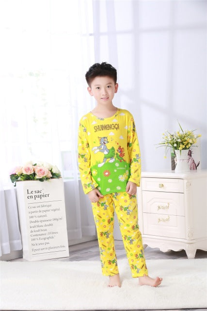 Special Offer Cheap Pajamas Kids Autumn Winter Children Long Sleeve Sleepwear Sets Thin Cartoon Lovely Unisex Girls Pajamas Sets