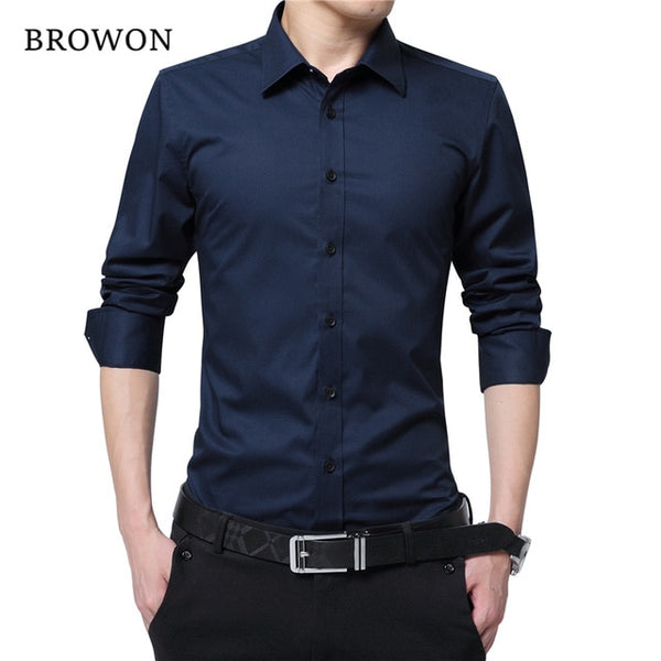 BROWON Men Fashion Blouse Shirt Long Sleeve Business Social Shirt Solid Color Turn-neck Plus Size Work Blouse Brand Clothes