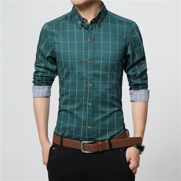 ERIDANUS 2017 Men's Plaid Cotton Dress Shirts Male High Quality Long Sleeve Slim Fit Business Casual Shirt Plus Size 5XL M433