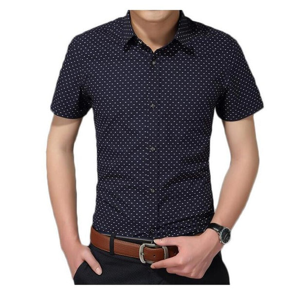 Men's Shirt New Fashion Cotton Men Social Shirt Mens Short Sleeve Shirts Man Polka Dot Casual Plus Size 5XL