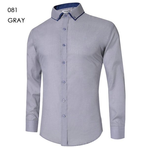 2018 Brand Design Casual Shirt Men Long Sleeve Slim Fit Cotton Dress Shirts Men Black Office Formal Men Shirt  Plus Size 5XL