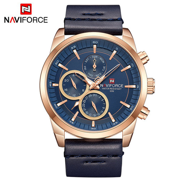Mens Watches NAVIFORCE Top Brand Luxury Waterproof 24 hour Date Quartz Watch Man Fashion Leather Sport Wrist Watch Men Clock