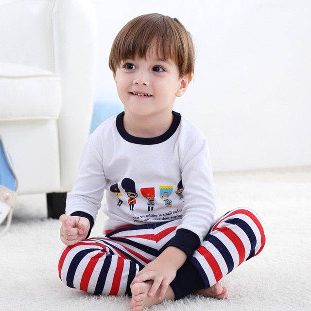 2018 New Cotton Children's Pajamas Sets Keep Warm Baby Girls Boys Clothes Cartoon Kids Sleepwear Long Sleeve Tops+Pants 2Pcs