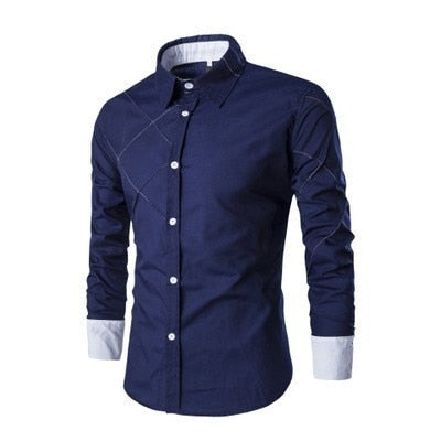2018 New Men's Casual Shirts Blue Green Black Male Long Sleeve Slim Fit Plaid Shirt camisa masculina 10 Colors M-3XL