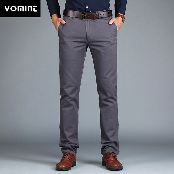 Vomint 2019 New Men's Pants Straight Loose Casual Trousers Large Size Cotton Fashion Men's Business Suit Pants Green Brown Grey