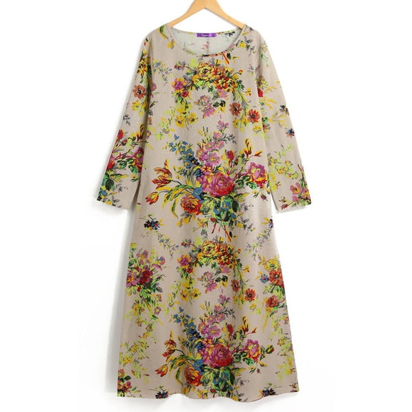 EaseHut 2019 New Vintage Women Maxi Floral Dress Plus Size Long Sleeves Pockets O Neck Cotton Linen Loose Robe Dresses vestidos