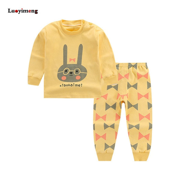 Cartoon Kids Pajamas Sets Cotton Boys Sleepwear Suit Autumn Spring Girls Pajamas Long Sleeve Tops+Pants 2pcs Children Clothing