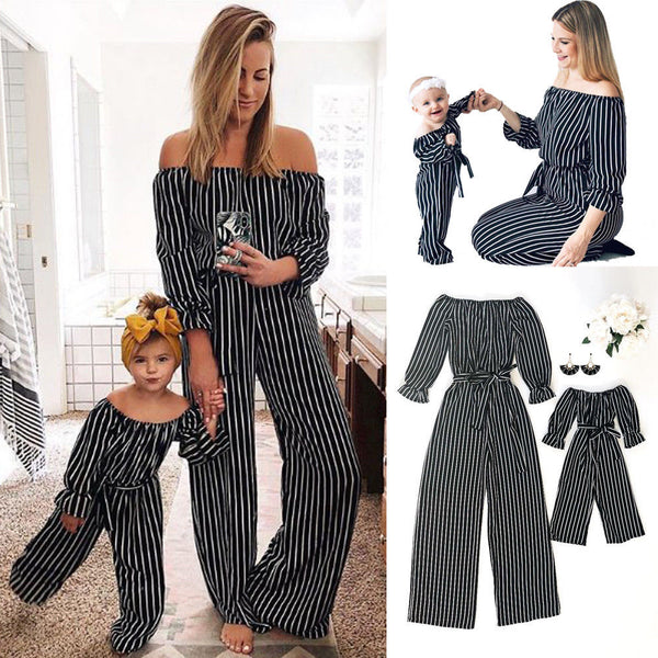 2019 Family Clothes Mother & Daughter Matching Mom Daughter Fashion Striped Jumpsuit Off Shoulder Long Sleeve Rompers Outfits