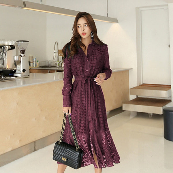 Spring Hollow-out Lace Women Long Dress with Belt Single Breasted Elegant Mermaid Female Dress Full Sleeve Autumn Vestidos femme