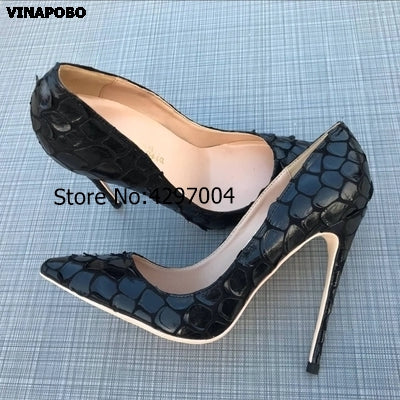 Vinapobo 12/10/8CM Women Stiletto High Heels Ladies Sexy Black Snake thin Heels Pointed Toe Pumps Comfortable Dress wedding Shoe