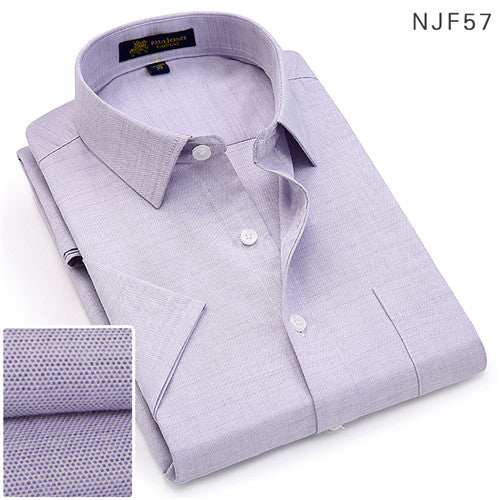 2019Summer turndown collar short sleeve oxford fabric soft print business men smart casual shirts with chest pocket S-4xl 8color