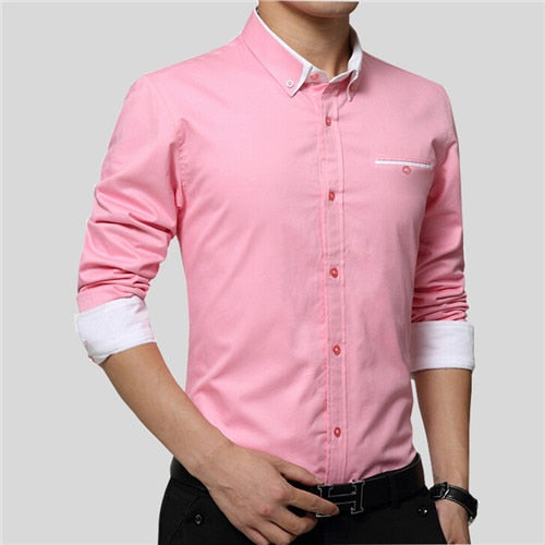 VISADA JAUNA 2018 New Men Shirts Business Long Sleeve Turn-down Collar Cotton Male Shirt Slim Fit Popular Designs N837