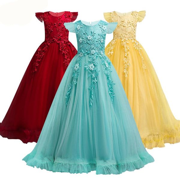 4-15 Years Kids Dress For Girls Wedding Tulle Lace Long Girl Dress Elegant Princess Party Pageant Formal Gown For Teen Children