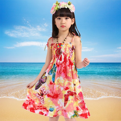 Girls Dress Summer Fashion Sling Floral Kids Dress Princess Bohemian Children Dresses Beach Girls Clothes 3 4 6 7 8 10 12 Year