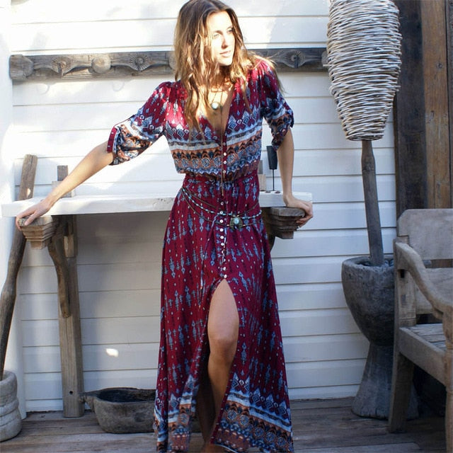 2019 new Bohemian printing long dress women maxi long dress floral print retro hippie vestidos chic brand clothing boho dress
