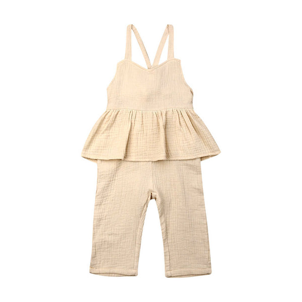 US Toddler Kids Baby Girl Clothes Solid Color Holiday Overall Ruffle Bandage Jumpsuit Bodysuit One-Pieces Sunsuit  Outfit Summer