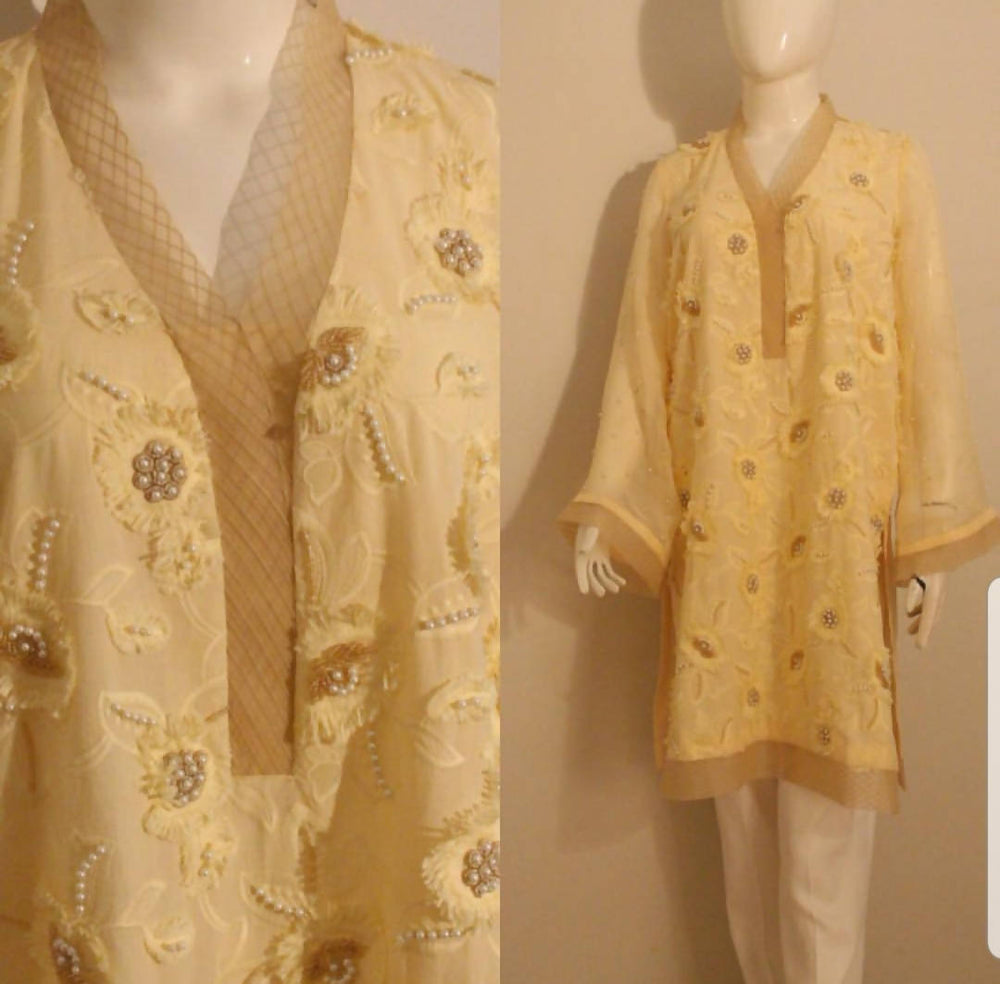 yellow 3D flower kurta