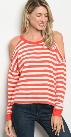 Women's Stripe Cold Shoulder Tunic
