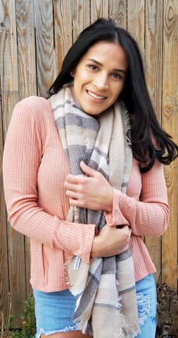 Plaid Blanket Scarf Women