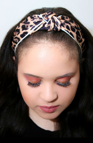 Leopard Print Headband: Light Brown