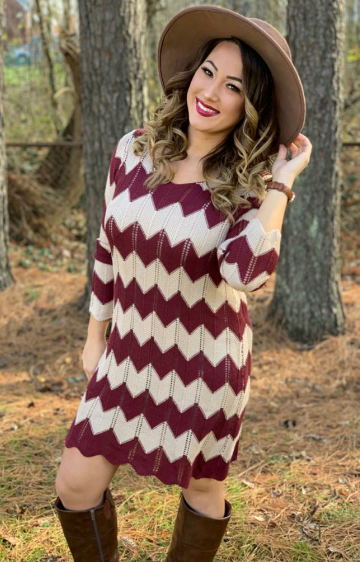 Cherish Chevron Knit Dress
