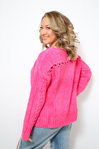 Late Nights Sweater : Hot Pink